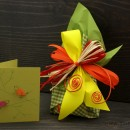 Gift wrapping and a greeting card