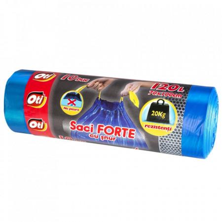 Saci FORTE cu snur, 120L, albastru, 10 buc./rola