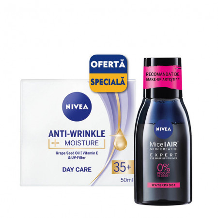 Pachet Nivea: crema de zi Anti-Wrinkle Moisture 35+, 50 ml + apa micelara MicellAir