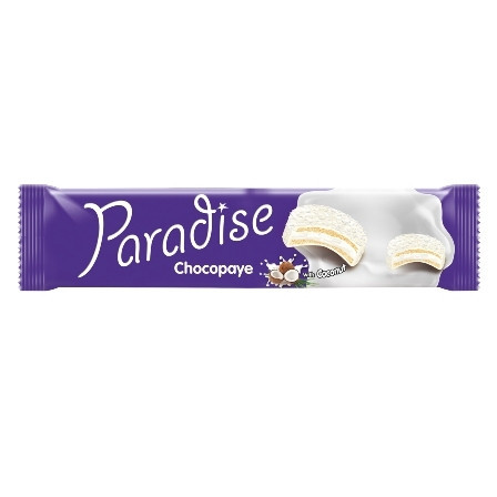 BISCUITI SANDWICH MARSHMALLOW COCOS SI GLAZURA LAPTE 64GR PARADISE CHOCO PAYE