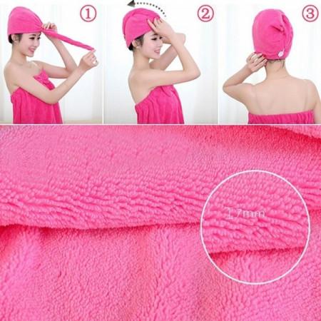 Casca de uscat parul pentru femei, un prosop din microfibra foarte absorbat, cu uscare rapida, pentru baie, 25x65cm, ideal pentru salonul de coafura sau pentru acasa