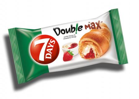 Croissant cu umplutura de vanilie si capsune Double 80g 7Days
