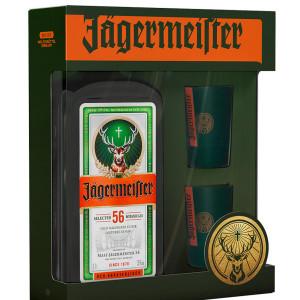 JAGERMEISTER - HERBAL LIQUEUR + 2 PAHARE VERZI METAL - 0.7L, ALC: 35%