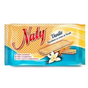 Napolitane Naty umplute cu crema de vanilie 160 g