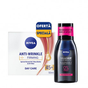 Pachet Nivea: crema de zi Anti-Wrinkle Firming 45+ 50 ml + apa micelara MicellAir