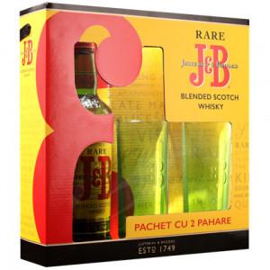J&B SCOTCH WHISKY 0.70L + 2 PAHARE