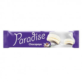BISCUITI SANDWICH MARSHMALLOW COCOS SI GLAZURA LAPTE 64GR PARADISE CHOCO PAYE