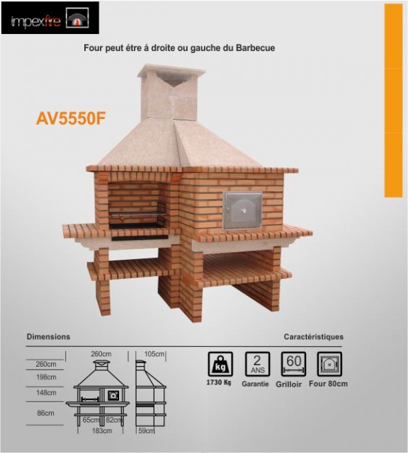 barbecue fixe avec four pain et pizza du portugal av5550f. Black Bedroom Furniture Sets. Home Design Ideas