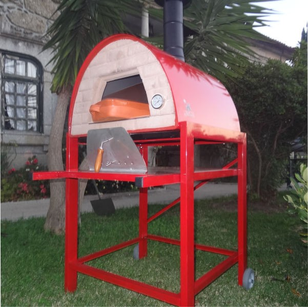 four a bois a pizza maximus avec charriot rouge. Black Bedroom Furniture Sets. Home Design Ideas