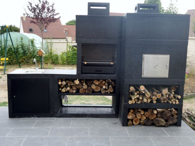 barbecue moderne avec four et evier av80m. Black Bedroom Furniture Sets. Home Design Ideas