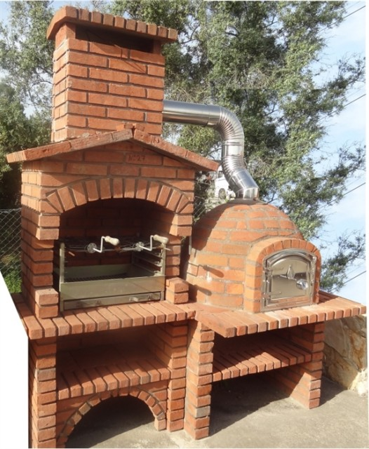 barbecue rustique avec four en brique rouge fr0027f. Black Bedroom Furniture Sets. Home Design Ideas