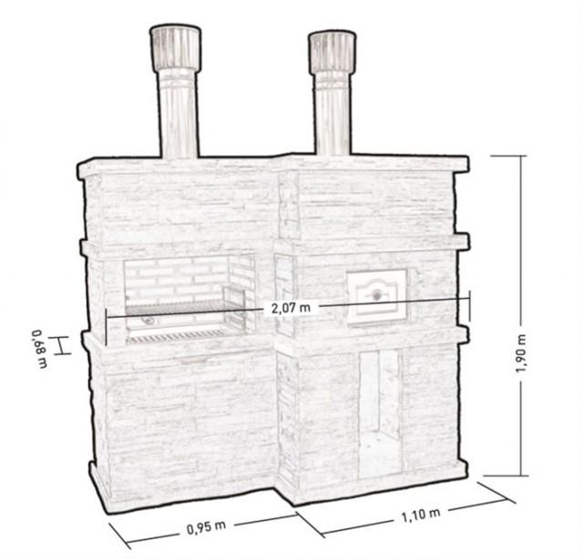 Kit barbecue fixe avec four pr4730f for Plan d un barbecue en brique