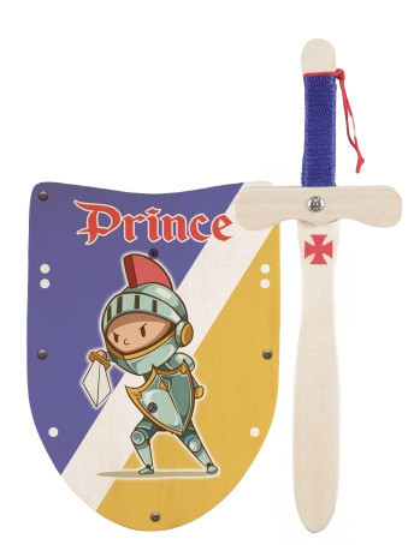 Jucarie - Mini set scut cu sabie de lemn 33cm