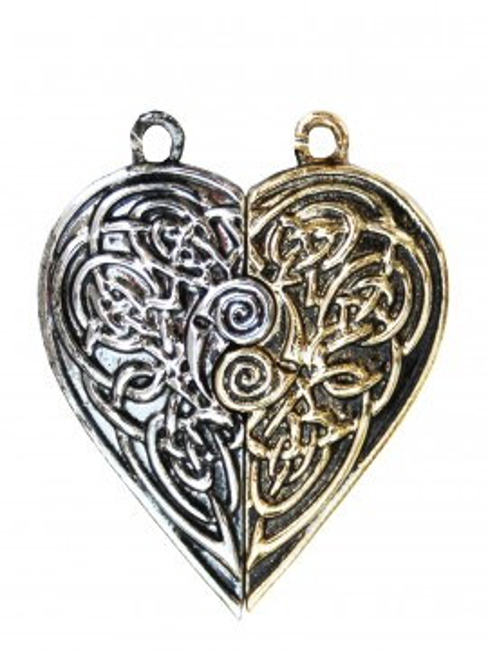 Pandantiv 2 jumătăți inimă Tristan și Isolda