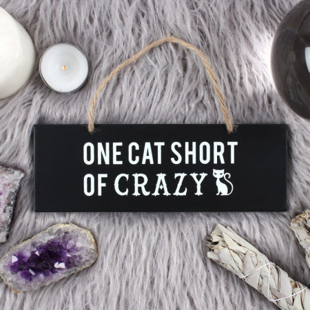 Placuta decorativa lemn One cat short of crazy