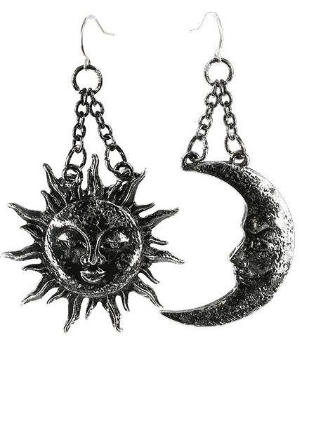 Cercei lungi gotici cu agatatoare din argint Soare si Luna - argintiu