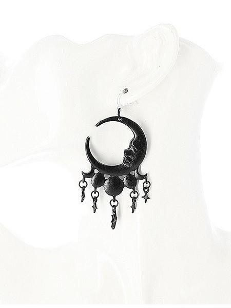 Cercei gotici cu agatatoare din argint, luna cu stele, Nopti Fara Somn - negru