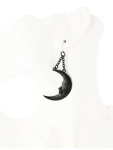 Cercei lungi gotici cu agatatoare din argint Soare si Luna - negru