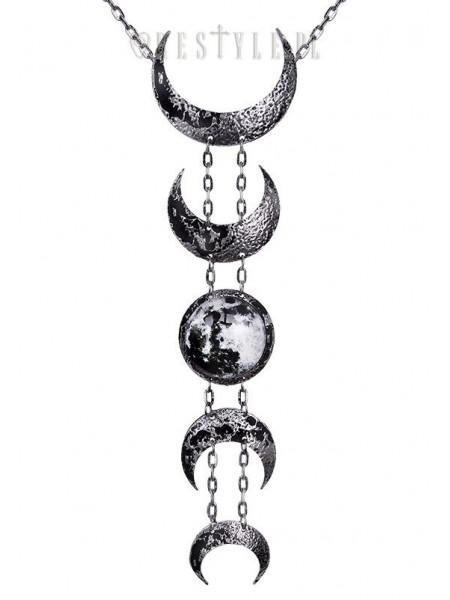 Colier gotic lung cu fazele lunii Lunar - argintiu