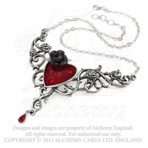 Colier elegant gotic romantic Inima îndurerată