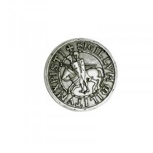 Insigna placata cu argint Sigiliul Templierilor - Cei Doi Calareti