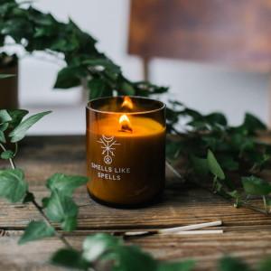 Lumanare cu uleiuri esentiale si fitil de lemn pentru ritual de prosperitate Norse Magic - Freyr