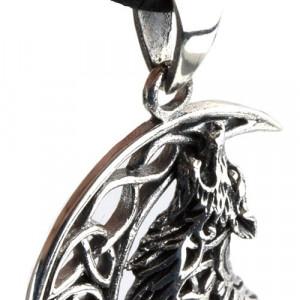 Pandantiv argint Lup urland la luna cu nod celtic si pentagrama