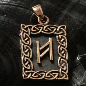 Pandantiv bronz runa Hagalaz