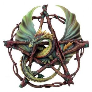 Plachetă decorativă perete Dragon în pentagramă
