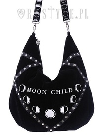 Sack Bag Black velvet hobo bag, moon phases embroidery