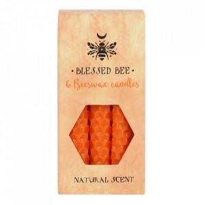 Set 6 lumanari portocalii din ceara de albine pentru ritualuri de incredere 11cm