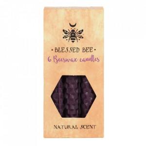 Set 6 lumanari violet din ceara de albine pentru ritualuri de prosperitate si putere 11cm