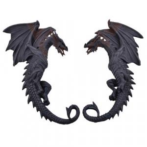 Set doua plachete decorative pentru perete Dragoni 37cm