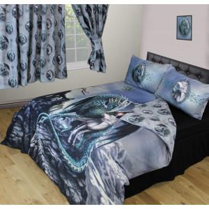 Set lenjerie de pat din bumbac, dragon si unicorn, Lisa Parker - Protectorii Magiei, 200x200 cm