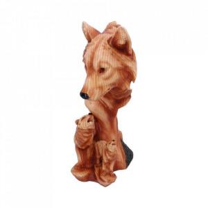 Statueta bust lupi finisaj lemn Cantecul Naturii 31 cm