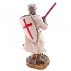 Statuetă cavaler medieval Cruciat Gata de Lupta 16 cm