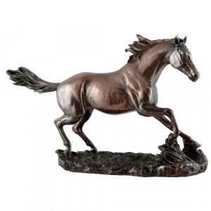 Statueta finisaj bronz Cal galopand 35cm