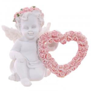 Statueta Ingeras cu Inima de Trandafiri 6 cm