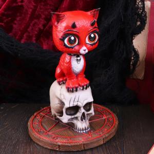 Statueta pisicuta pe craniu Devil Kitty 16 cm - James Ryman