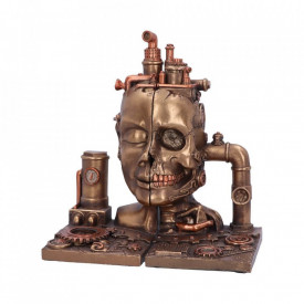 Suport lateral de cărți - book end - Craniu Steampunk Split