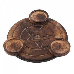 Suport lumanari lemn Pentagrama