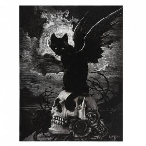 Tablou canvas pisicuta neagra pe craniu Cele noua veti ale lui Poe 19x25cm