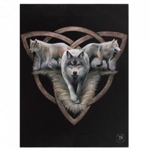 Tablou canvas Trei Lupi, 19x25cm - Anne Stokes