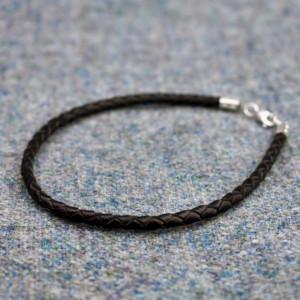 Bratara din piele impletita cu inchizatoare argint pentru charmuri vikinge
