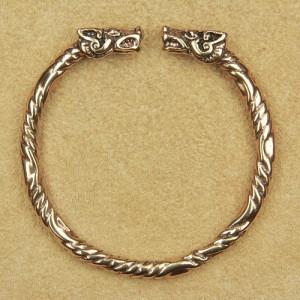 Brățară vikingă Capete de lupi - bronz