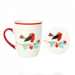 Cana si coaster din ceramica Winter Robin
