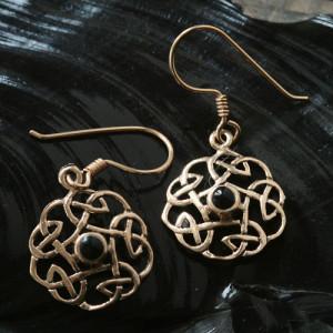 Cercei celtici din bronz Nod cu onix