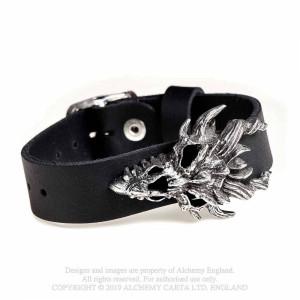 Dragon Skull Leather Wriststraps