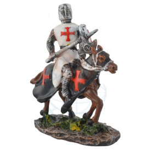 Figurina Cavaler cruciat pe cal 8 cm