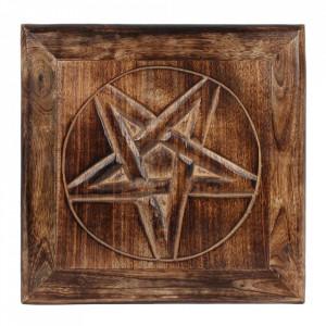 Masuta de altar sculptata din lemn Pentagrama 30 cm